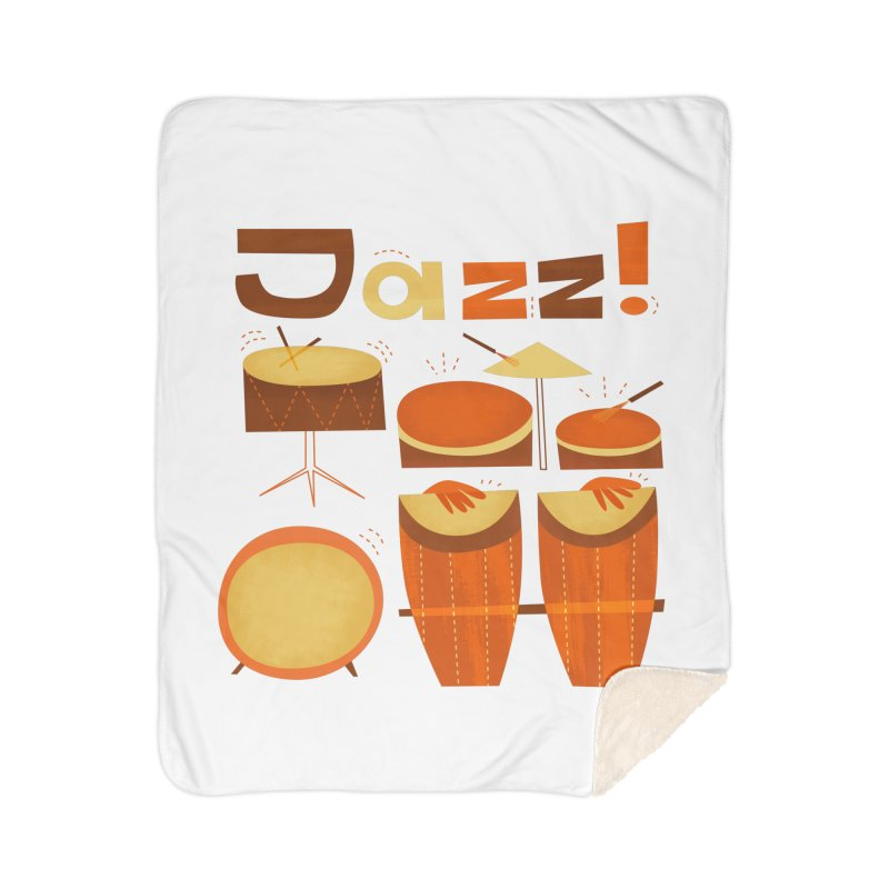 Retro Jazz Drums Percussion Brown Yellow Red Home Sherpa Blanket Blanket by amirabouroumie's Artist Shop