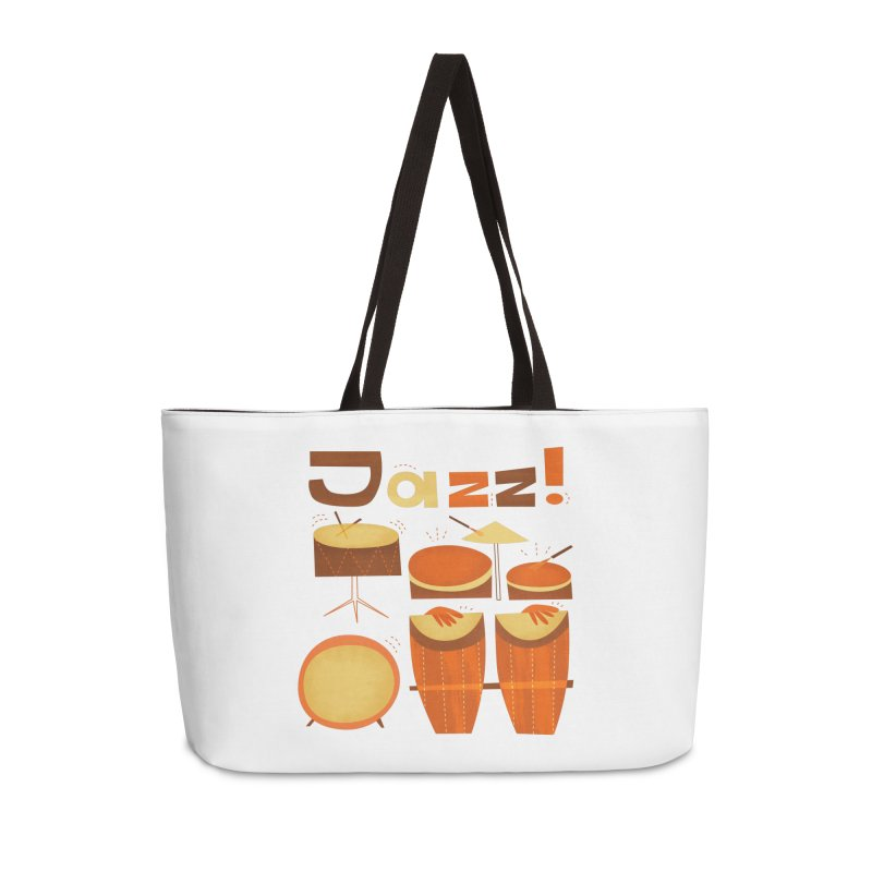 Retro Jazz Drums Percussion Brown Yellow Red Accessories Weekender Bag Bag by amirabouroumie's Artist Shop
