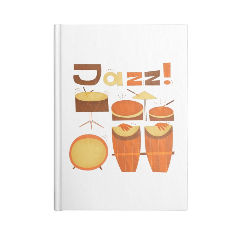 Retro Jazz Drums Percussion Brown Yellow Red Accessories Lined Journal Notebook by amirabouroumie's Artist Shop