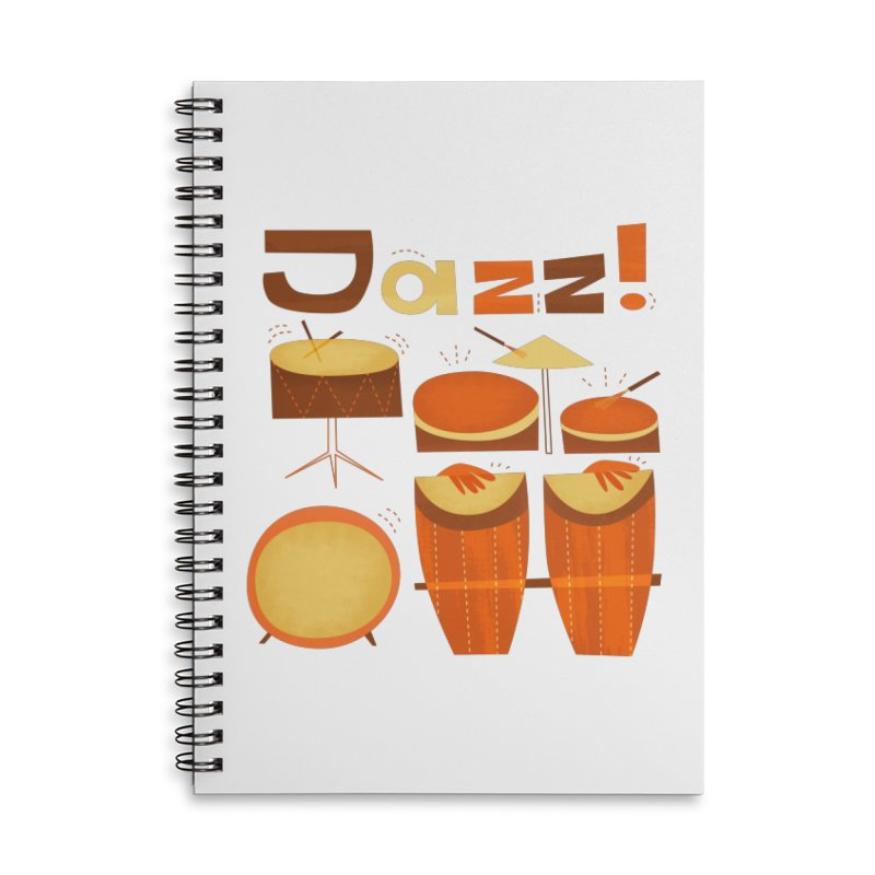 Retro Jazz Drums Percussion Brown Yellow Red Accessories Lined Spiral Notebook by amirabouroumie's Artist Shop