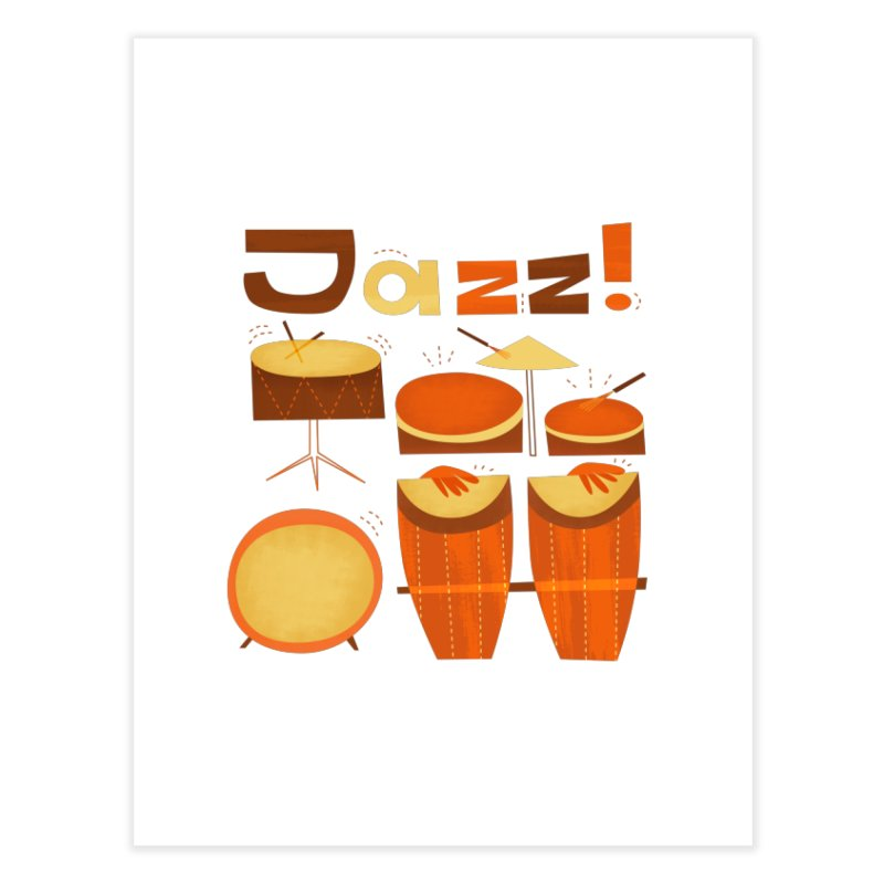 Retro Jazz Drums Percussion Brown Yellow Red Home Fine Art Print by amirabouroumie's Artist Shop