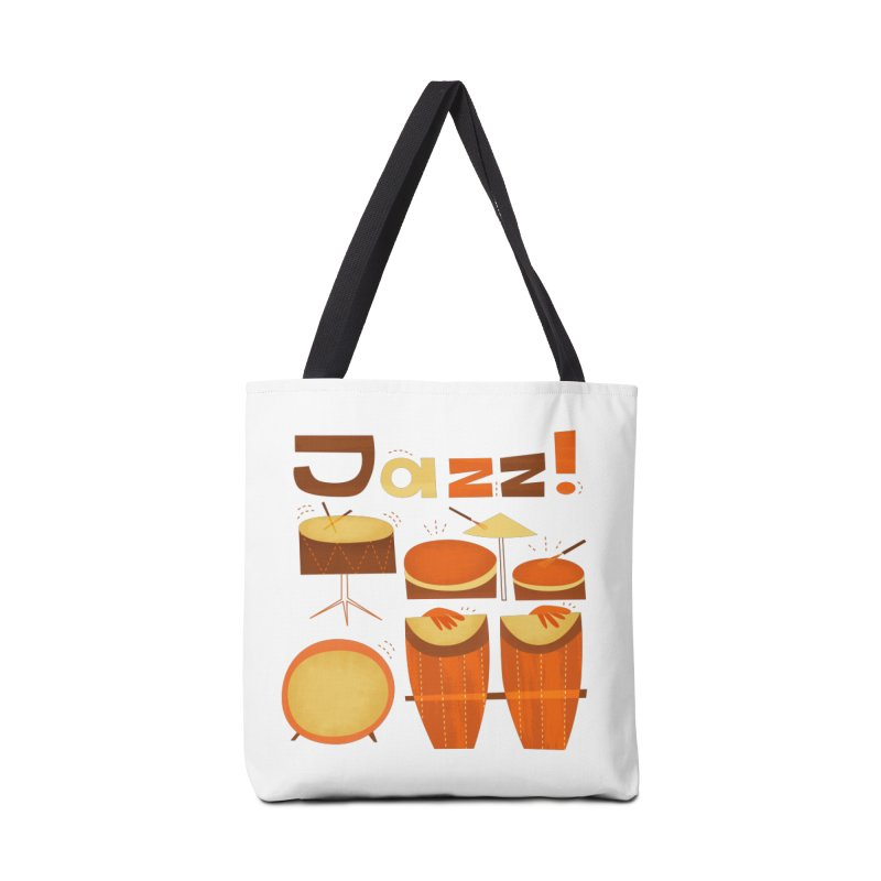 Retro Jazz Drums Percussion Brown Yellow Red Accessories Tote Bag Bag by amirabouroumie's Artist Shop