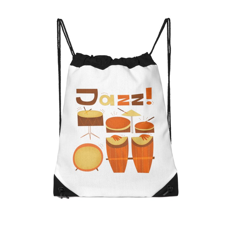 Retro Jazz Drums Percussion Brown Yellow Red Accessories Drawstring Bag Bag by amirabouroumie's Artist Shop