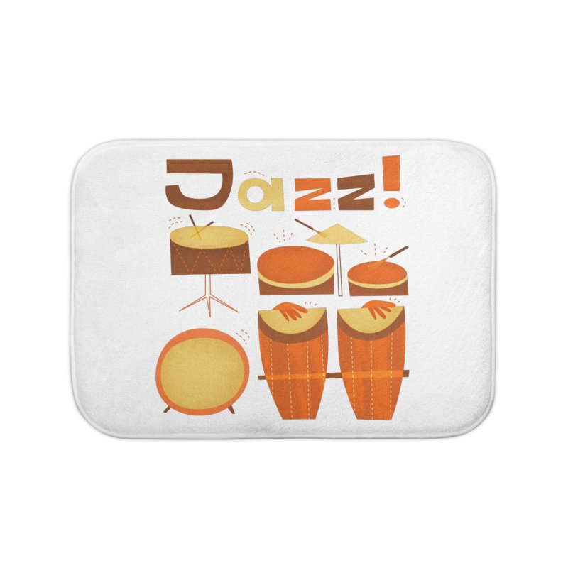 Retro Jazz Drums Percussion Brown Yellow Red Home Bath Mat by amirabouroumie's Artist Shop