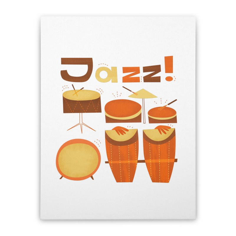 Retro Jazz Drums Percussion Brown Yellow Red Home Stretched Canvas by amirabouroumie's Artist Shop