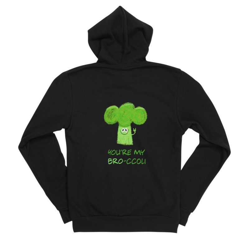 You're my bro-ccoli - Vegan bros - vegan friends male funny Men's Sponge Fleece Zip-Up Hoody by amirabouroumie's Artist Shop