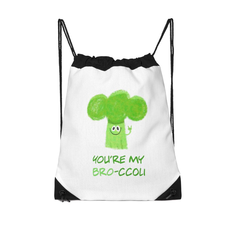 You're my bro-ccoli - Vegan bros - vegan friends male funny Accessories Drawstring Bag Bag by amirabouroumie's Artist Shop