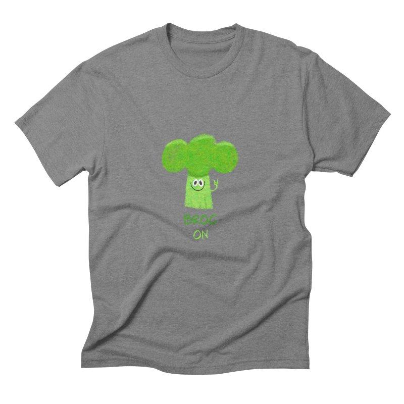 Rock on - Broc On - Brocculi - Vegan Hard Rock Rocker Men's Triblend T-Shirt by amirabouroumie's Artist Shop