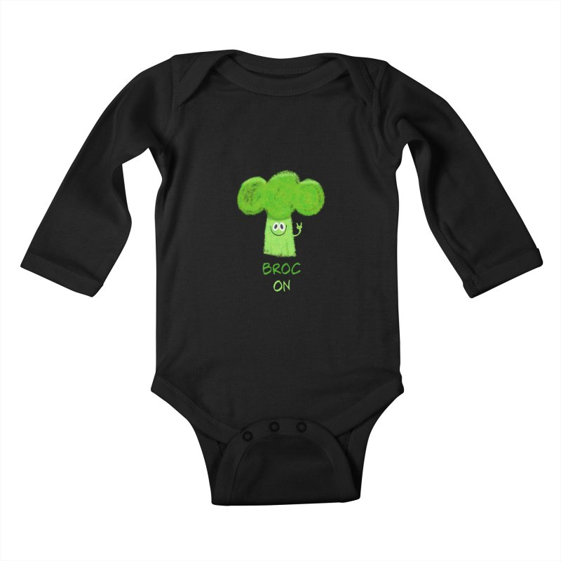 Rock on - Broc On - Brocculi - Vegan Hard Rock Rocker Kids Baby Longsleeve Bodysuit by amirabouroumie's Artist Shop