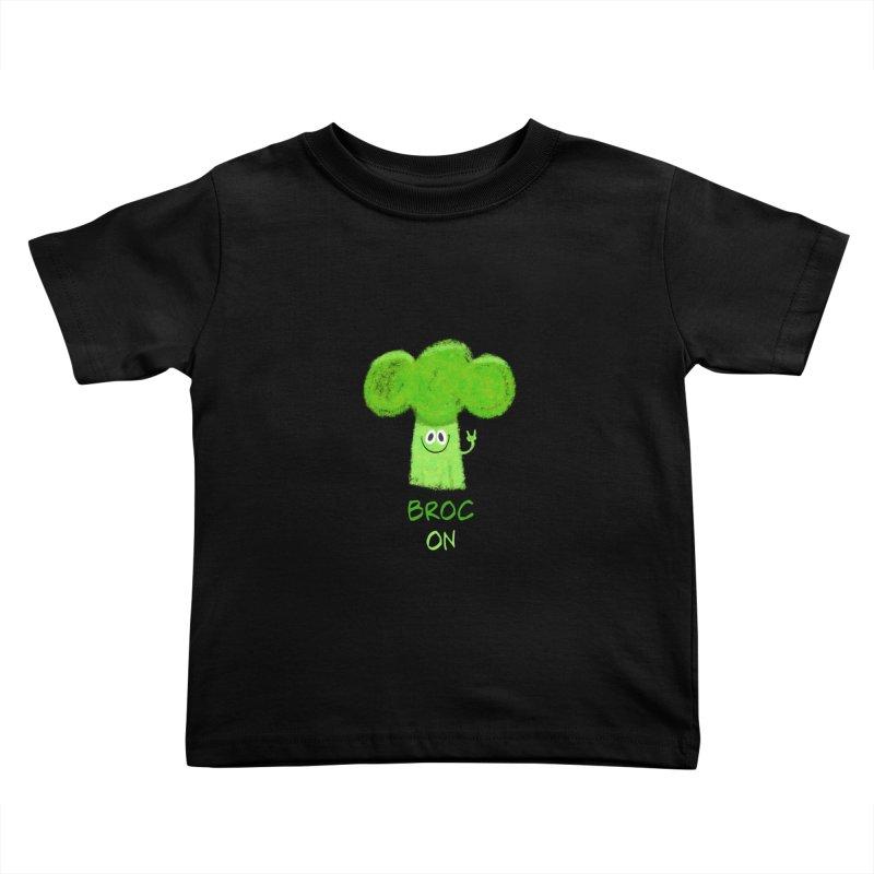 Rock on - Broc On - Brocculi - Vegan Hard Rock Rocker Kids Toddler T-Shirt by amirabouroumie's Artist Shop