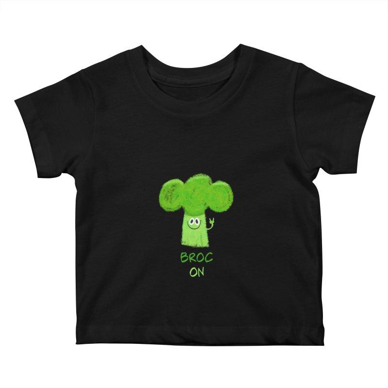 Rock on - Broc On - Brocculi - Vegan Hard Rock Rocker Kids Baby T-Shirt by amirabouroumie's Artist Shop