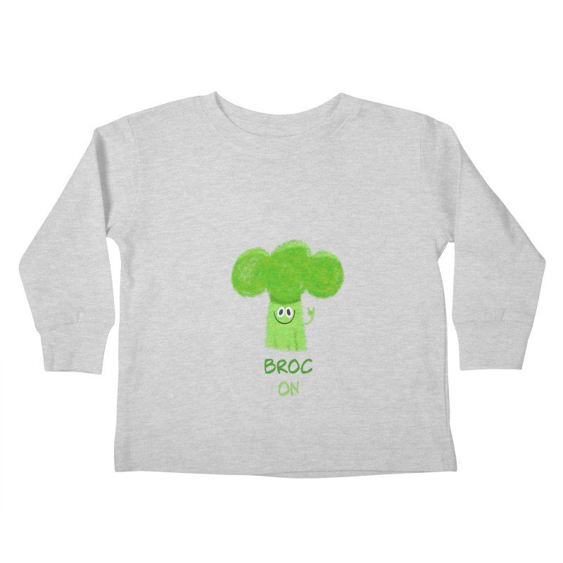 Rock on - Broc On - Brocculi - Vegan Hard Rock Rocker Kids Toddler Longsleeve T-Shirt by amirabouroumie's Artist Shop