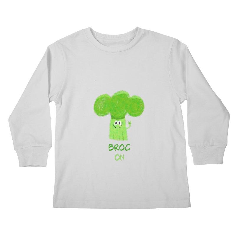 Rock on - Broc On - Brocculi - Vegan Hard Rock Rocker Kids Longsleeve T-Shirt by amirabouroumie's Artist Shop