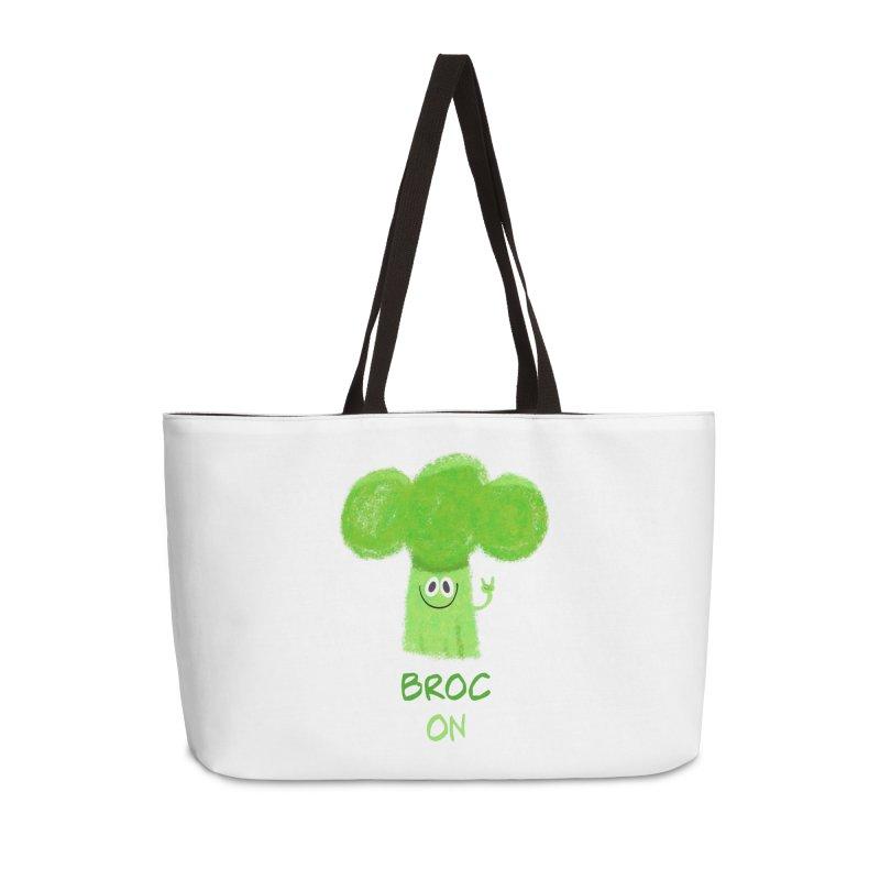 Rock on - Broc On - Brocculi - Vegan Hard Rock Rocker Accessories Weekender Bag Bag by amirabouroumie's Artist Shop