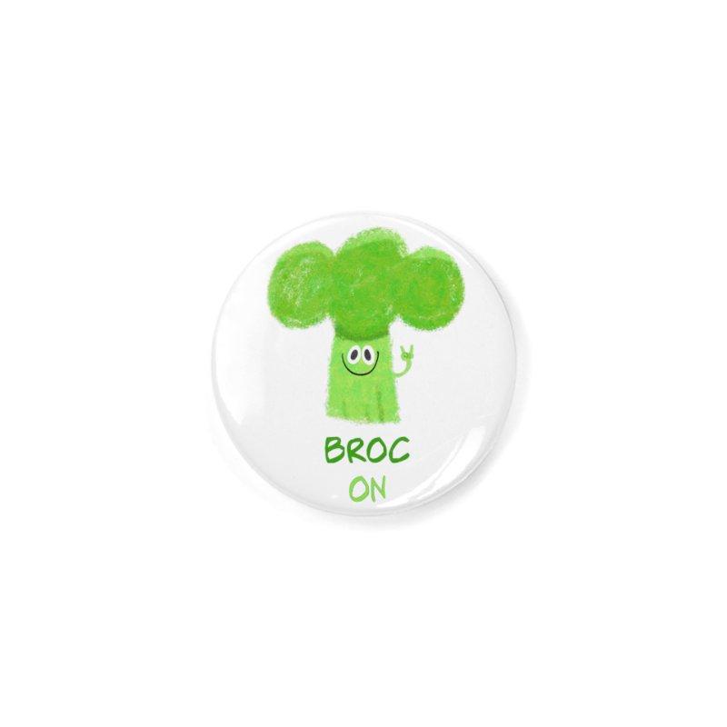 Rock on - Broc On - Brocculi - Vegan Hard Rock Rocker Accessories Button by amirabouroumie's Artist Shop