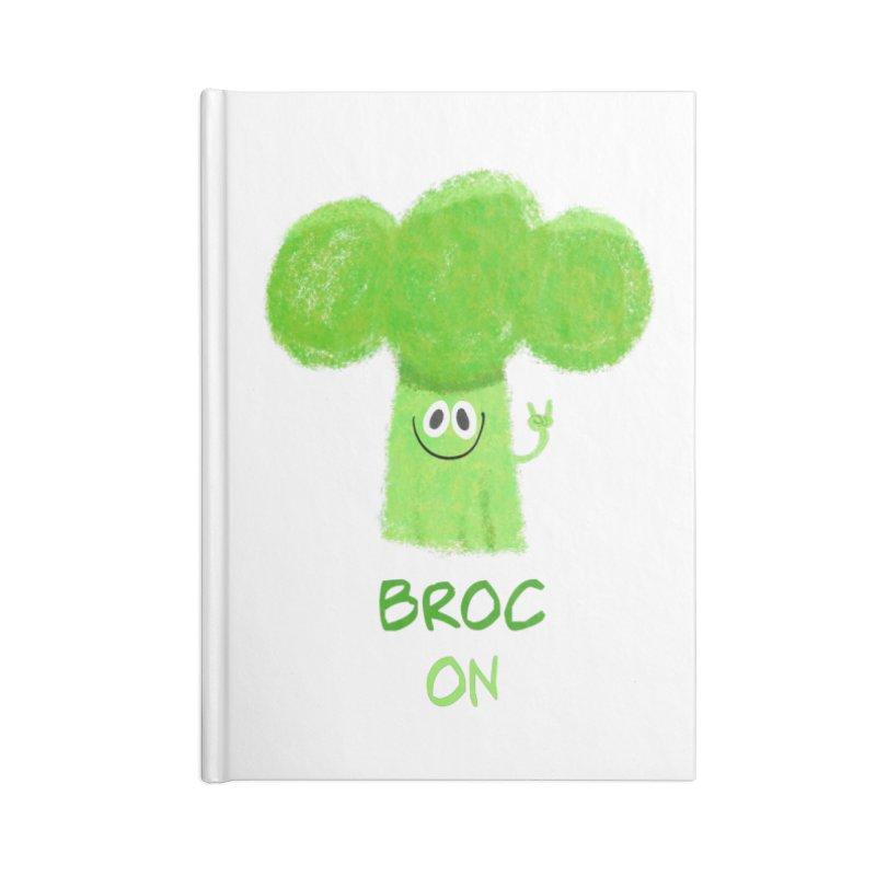 Rock on - Broc On - Brocculi - Vegan Hard Rock Rocker Accessories Blank Journal Notebook by amirabouroumie's Artist Shop
