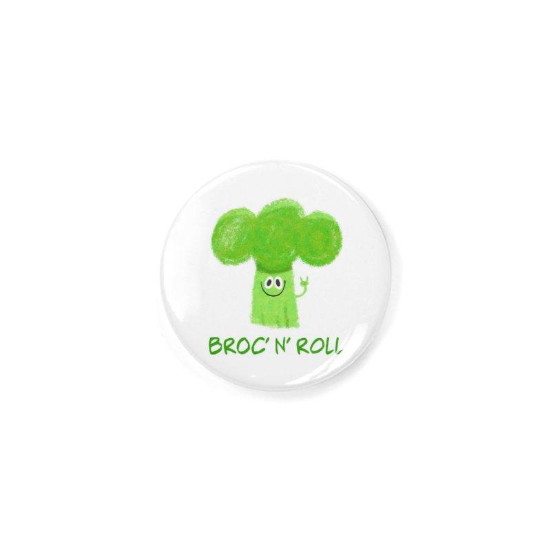Broc' n' Roll Brocculi - Rock' n' Roll - Vegan Hard Rock Rocker Accessories Button by amirabouroumie's Artist Shop