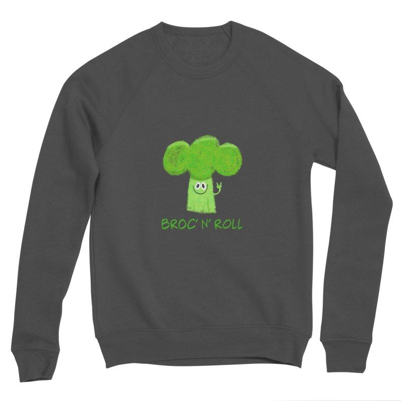 Broc' n' Roll Brocculi - Rock' n' Roll - Vegan Hard Rock Rocker Men's Sponge Fleece Sweatshirt by amirabouroumie's Artist Shop