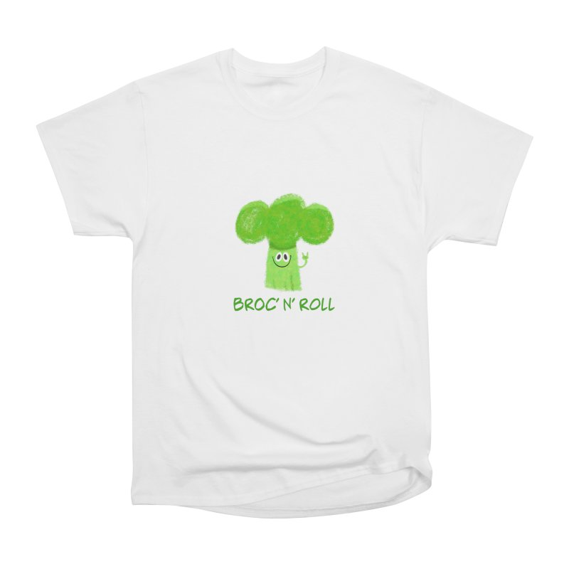 Broc' n' Roll Brocculi - Rock' n' Roll - Vegan Hard Rock Rocker Men's Heavyweight T-Shirt by amirabouroumie's Artist Shop