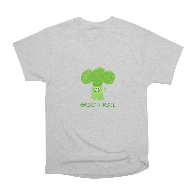Broc' n' Roll Brocculi - Rock' n' Roll - Vegan Hard Rock Rocker Women's Heavyweight Unisex T-Shirt by amirabouroumie's Artist Shop