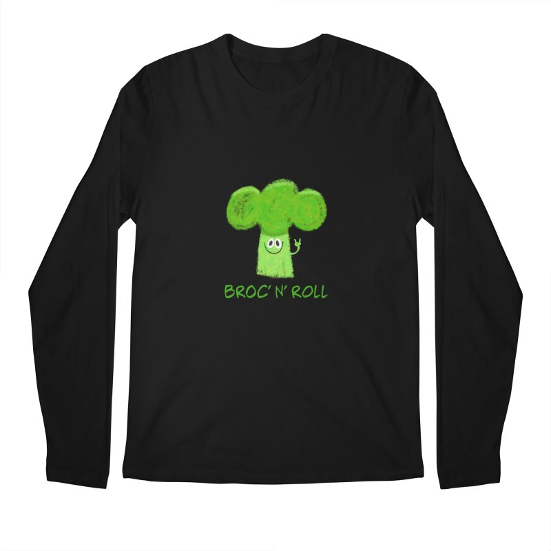 Broc' n' Roll Brocculi - Rock' n' Roll - Vegan Hard Rock Rocker Men's Regular Longsleeve T-Shirt by amirabouroumie's Artist Shop