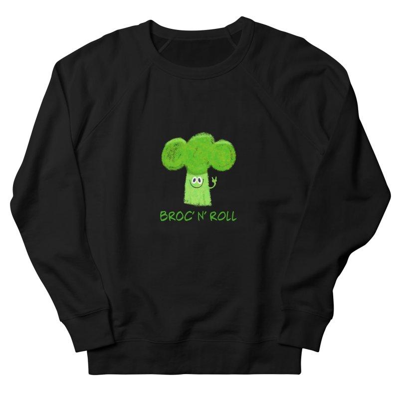 Broc' n' Roll Brocculi - Rock' n' Roll - Vegan Hard Rock Rocker Women's French Terry Sweatshirt by amirabouroumie's Artist Shop