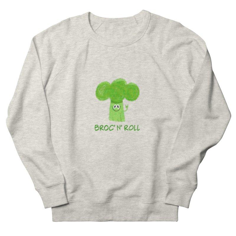 Broc' n' Roll Brocculi - Rock' n' Roll - Vegan Hard Rock Rocker Men's French Terry Sweatshirt by amirabouroumie's Artist Shop