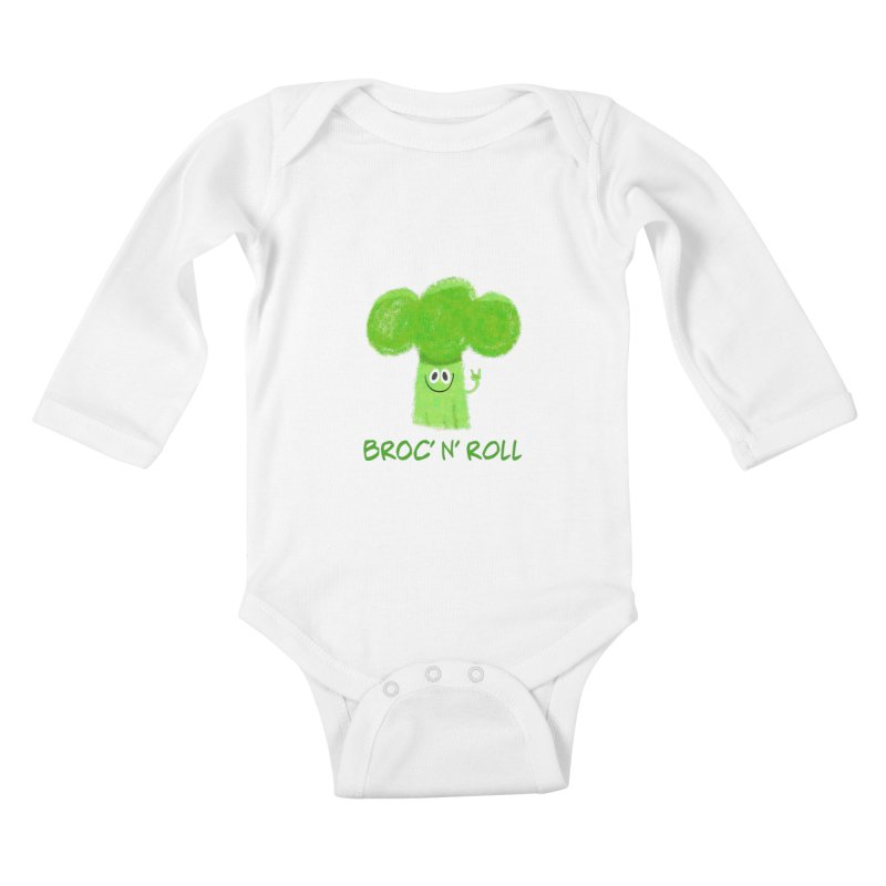 Broc' n' Roll Brocculi - Rock' n' Roll - Vegan Hard Rock Rocker Kids Baby Longsleeve Bodysuit by amirabouroumie's Artist Shop
