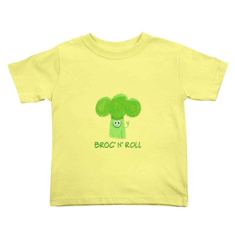 Broc' n' Roll Brocculi - Rock' n' Roll - Vegan Hard Rock Rocker Kids Toddler T-Shirt by amirabouroumie's Artist Shop
