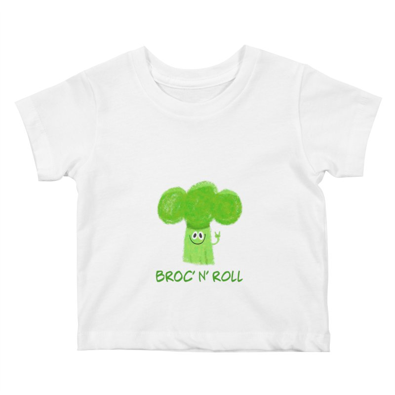 Broc' n' Roll Brocculi - Rock' n' Roll - Vegan Hard Rock Rocker Kids Baby T-Shirt by amirabouroumie's Artist Shop