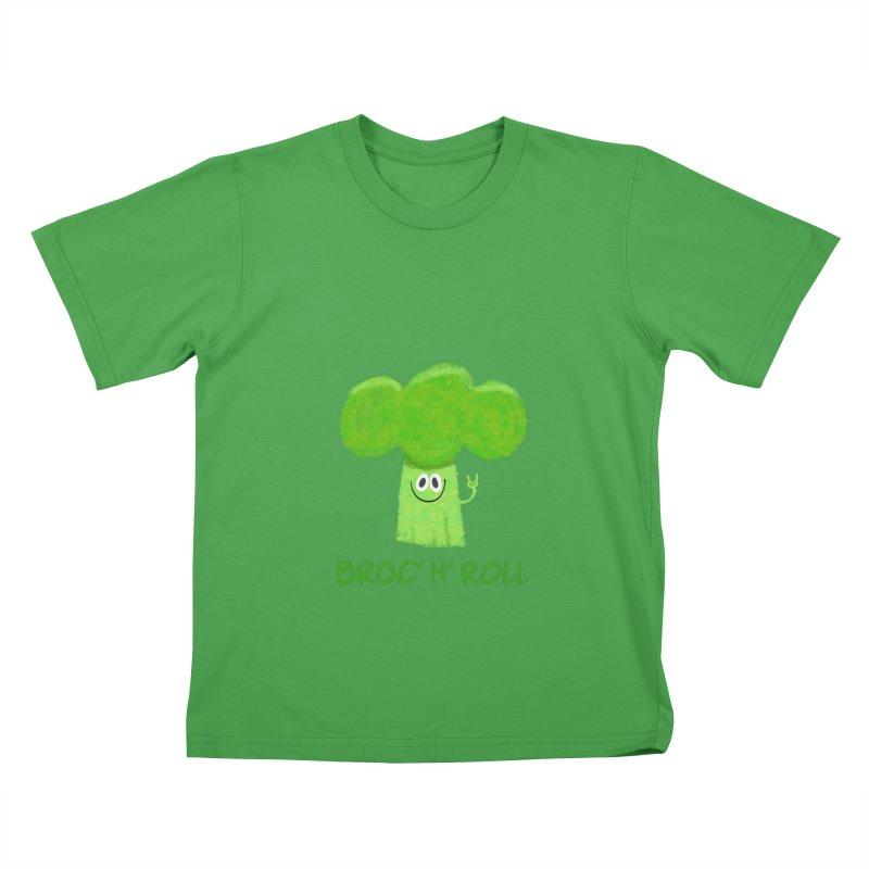 Broc' n' Roll Brocculi - Rock' n' Roll - Vegan Hard Rock Rocker Kids T-Shirt by amirabouroumie's Artist Shop