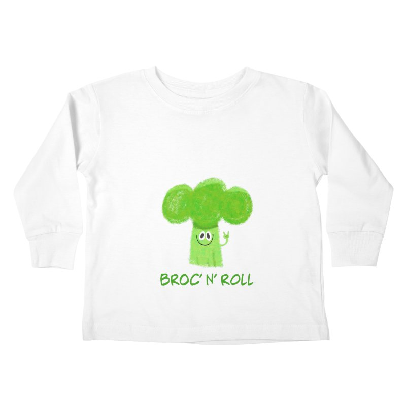 Broc' n' Roll Brocculi - Rock' n' Roll - Vegan Hard Rock Rocker Kids Toddler Longsleeve T-Shirt by amirabouroumie's Artist Shop