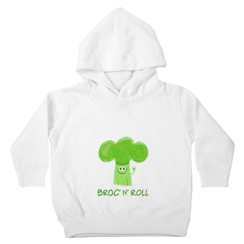 Broc' n' Roll Brocculi - Rock' n' Roll - Vegan Hard Rock Rocker Kids Toddler Pullover Hoody by amirabouroumie's Artist Shop