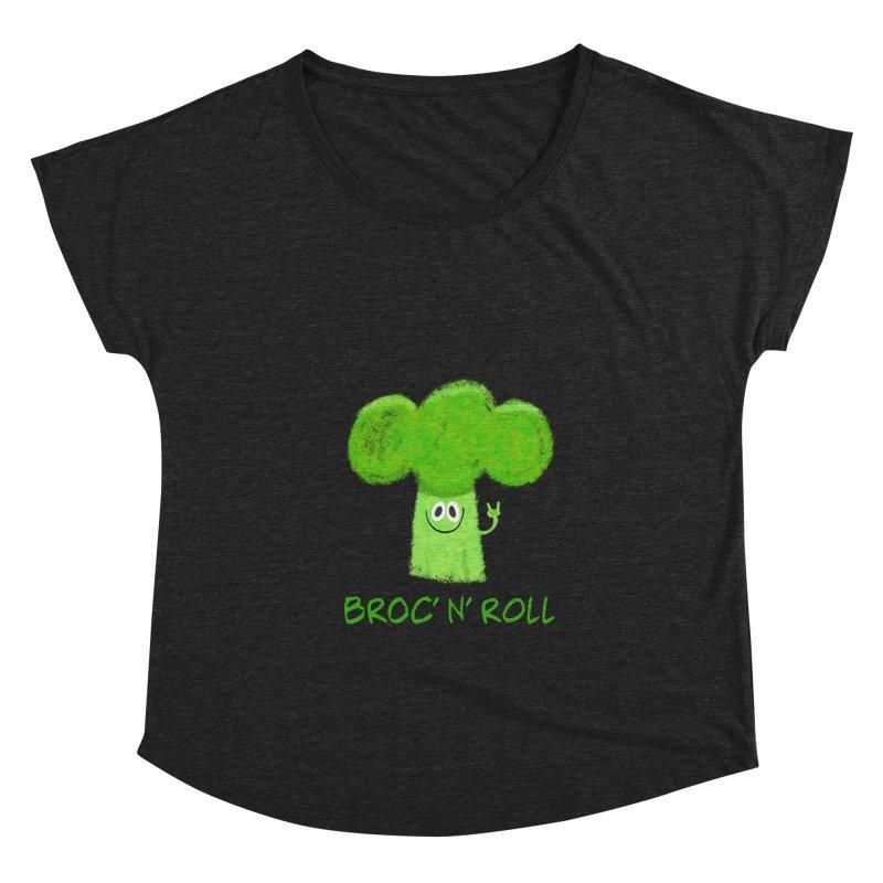 Broc' n' Roll Brocculi - Rock' n' Roll - Vegan Hard Rock Rocker Women's Dolman Scoop Neck by amirabouroumie's Artist Shop