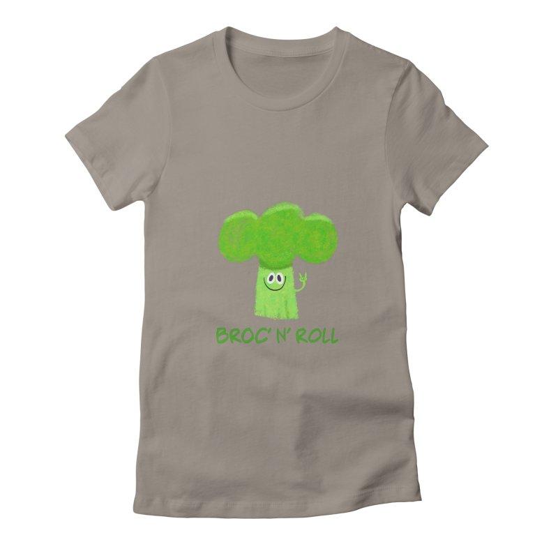 Broc' n' Roll Brocculi - Rock' n' Roll - Vegan Hard Rock Rocker Women's Fitted T-Shirt by amirabouroumie's Artist Shop