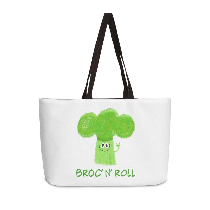 Broc' n' Roll Brocculi - Rock' n' Roll - Vegan Hard Rock Rocker Accessories Weekender Bag Bag by amirabouroumie's Artist Shop