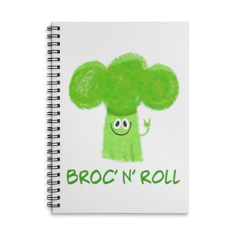 Broc' n' Roll Brocculi - Rock' n' Roll - Vegan Hard Rock Rocker Accessories Lined Spiral Notebook by amirabouroumie's Artist Shop