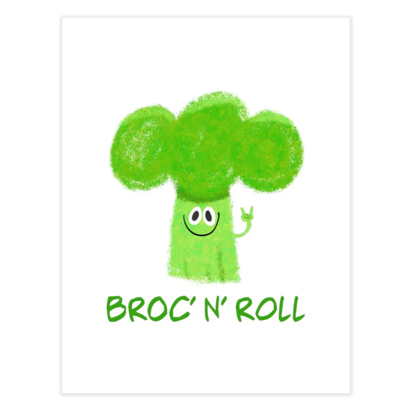 Broc' n' Roll Brocculi - Rock' n' Roll - Vegan Hard Rock Rocker Home Fine Art Print by amirabouroumie's Artist Shop