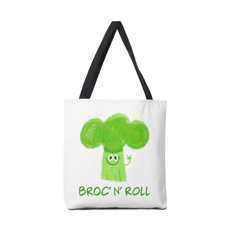 Broc' n' Roll Brocculi - Rock' n' Roll - Vegan Hard Rock Rocker Accessories Tote Bag Bag by amirabouroumie's Artist Shop