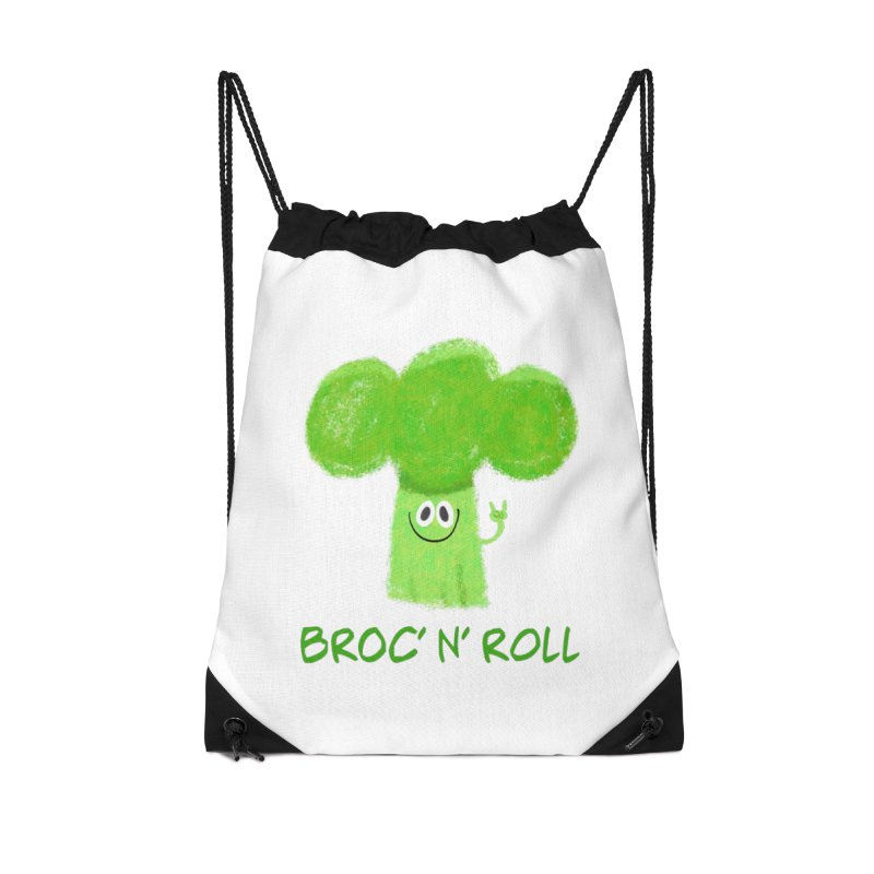 Broc' n' Roll Brocculi - Rock' n' Roll - Vegan Hard Rock Rocker Accessories Drawstring Bag Bag by amirabouroumie's Artist Shop