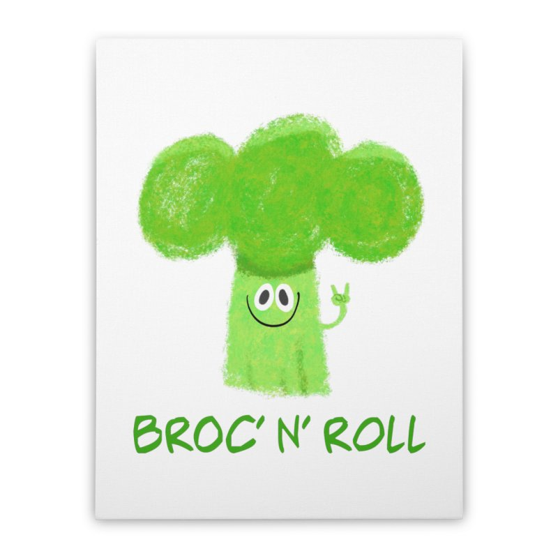 Broc' n' Roll Brocculi - Rock' n' Roll - Vegan Hard Rock Rocker Home Stretched Canvas by amirabouroumie's Artist Shop