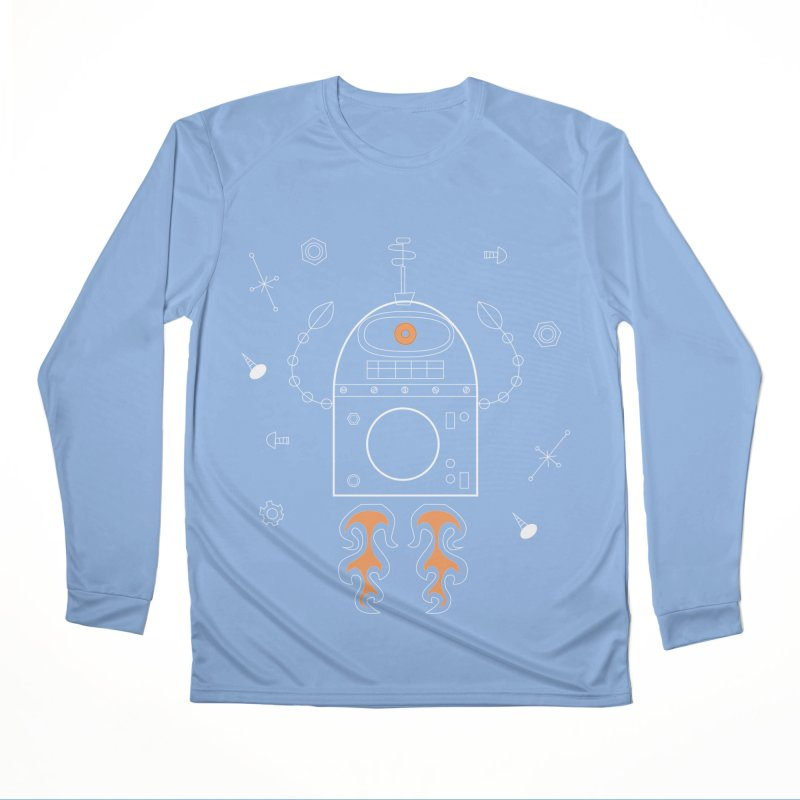 Space Robot with Rockets flying through the Universe Women's Longsleeve T-Shirt by amirabouroumie's Artist Shop