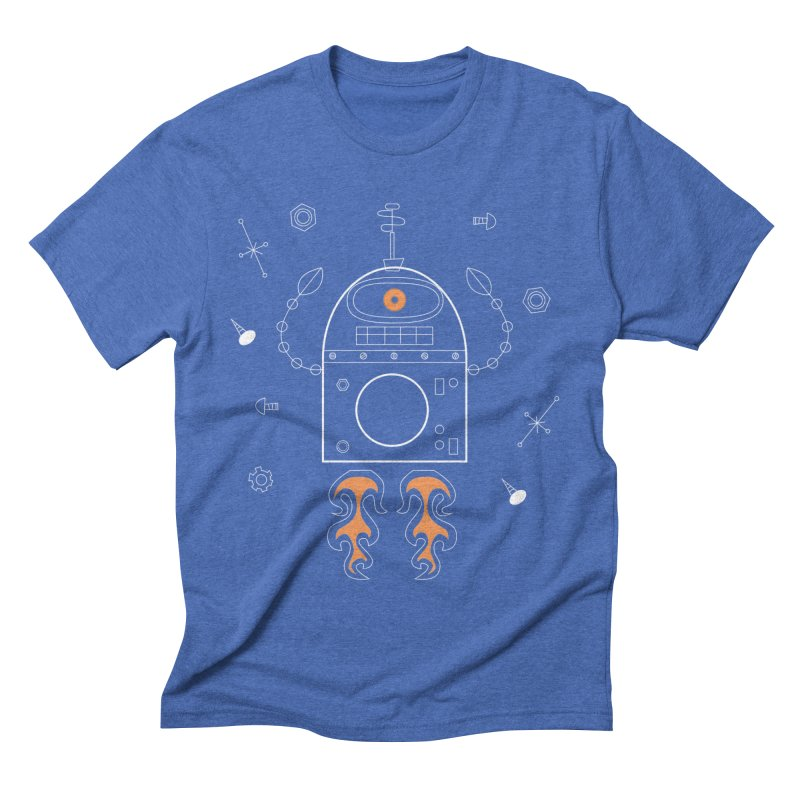 Space Robot with Rockets flying through the Universe Men's T-Shirt by amirabouroumie's Artist Shop