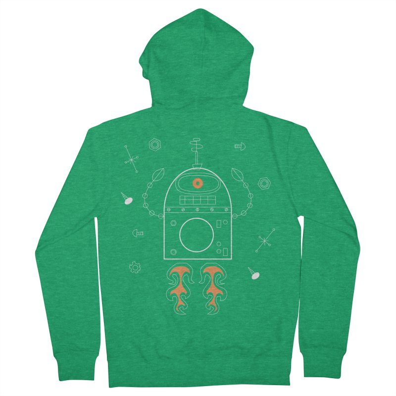 Space Robot with Rockets flying through the Universe Women's Zip-Up Hoody by amirabouroumie's Artist Shop