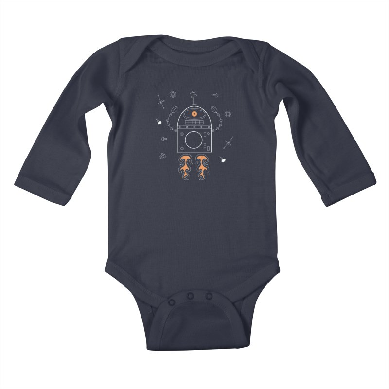 Space Robot with Rockets flying through the Universe Kids Baby Longsleeve Bodysuit by amirabouroumie's Artist Shop