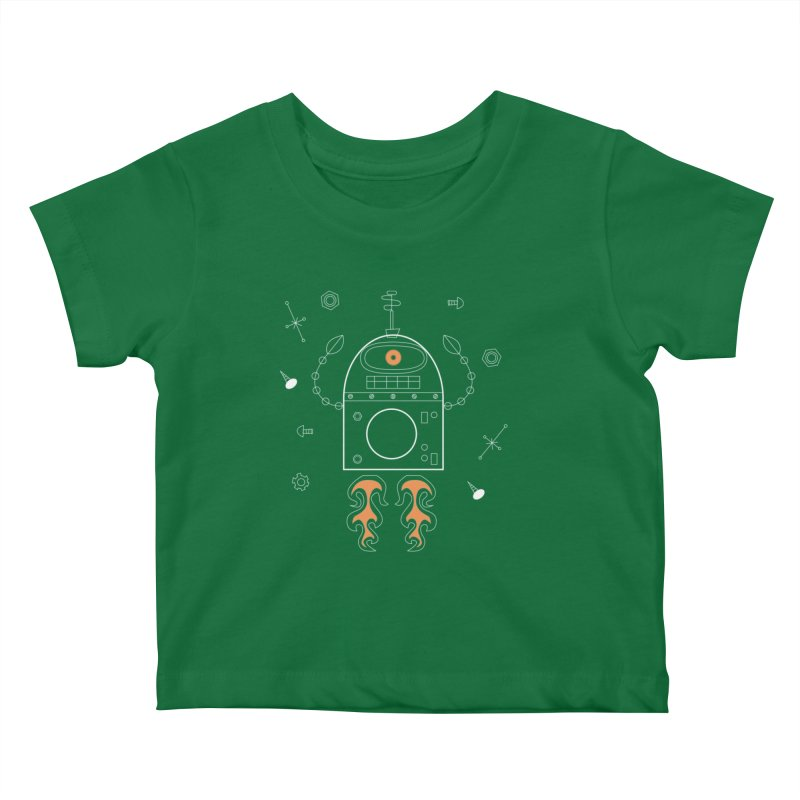 Space Robot with Rockets flying through the Universe Kids Baby T-Shirt by amirabouroumie's Artist Shop