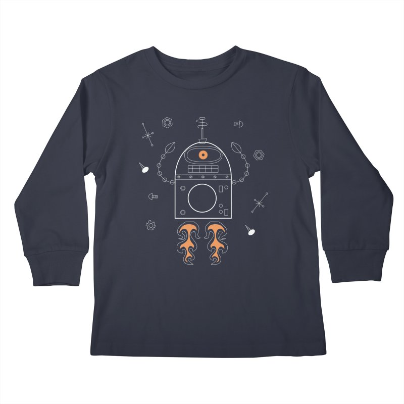 Space Robot with Rockets flying through the Universe Kids Longsleeve T-Shirt by amirabouroumie's Artist Shop
