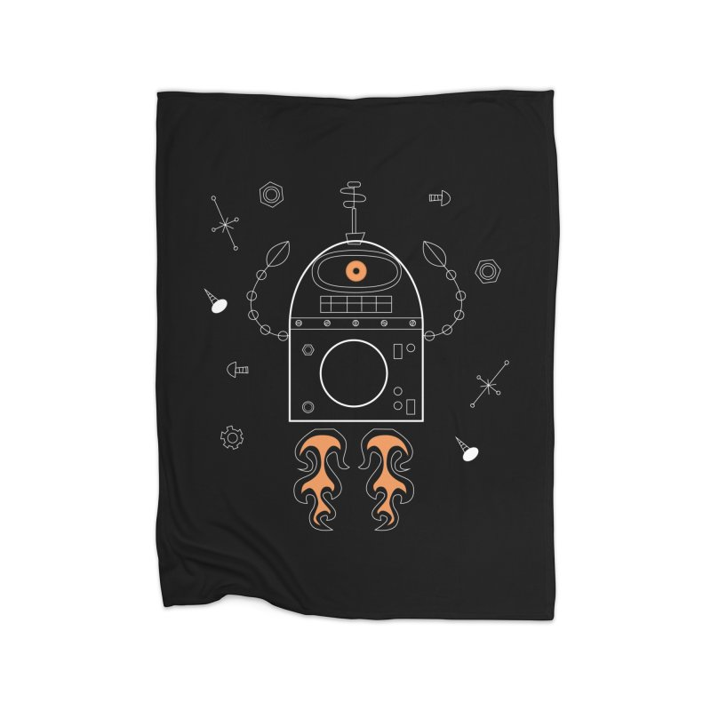 Space Robot with Rockets flying through the Universe Home Blanket by amirabouroumie's Artist Shop