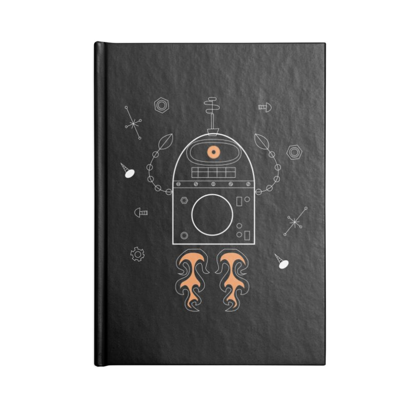 Space Robot with Rockets flying through the Universe Accessories Notebook by amirabouroumie's Artist Shop