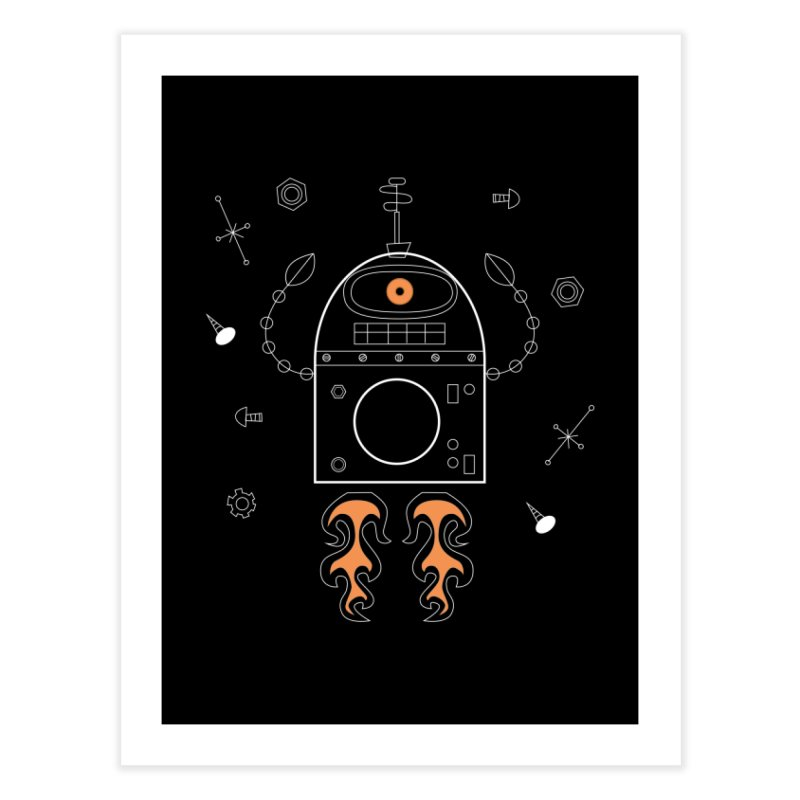 Space Robot with Rockets flying through the Universe Home Fine Art Print by amirabouroumie's Artist Shop